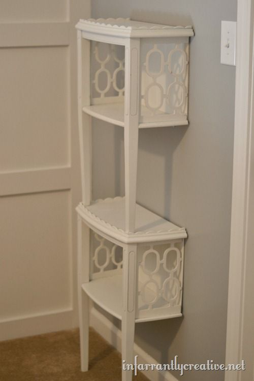 diy end table shelf the craftiest couple. Black Bedroom Furniture Sets. Home Design Ideas