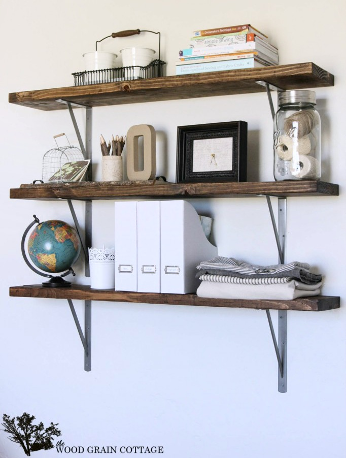 20 easy diy shelves for the house the craftiest couple for Diy industrial bookshelf