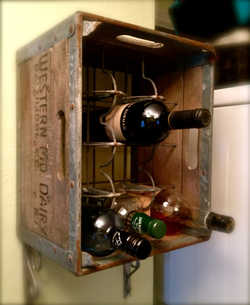 DIY Upcycled Milk Crate Wine Rack