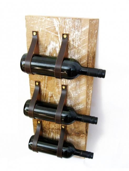 Recycled Leather & Wood Wine Rack
