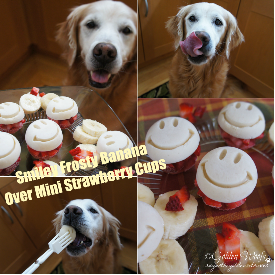 Smiley Frosty Banana Over Mini Strawberry Cups