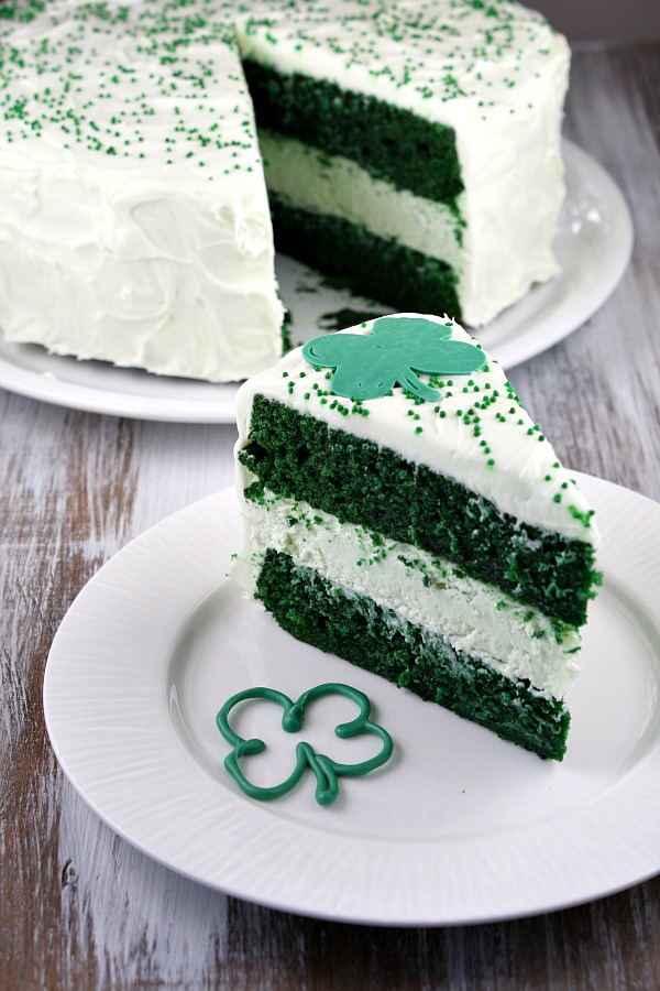 St Patricks Day Green Velvet Cheesecake Cake