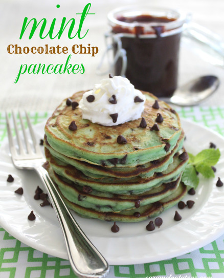 St Patricks Day Mint Chocolate Chip Pancakes