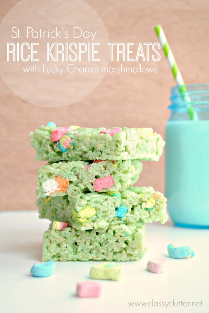 St. Patricks Day Lucky Charms Rice Krispie Treats
