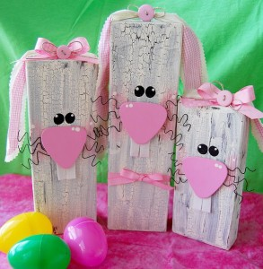 2×4 Wooden Bunnies Decor Craft