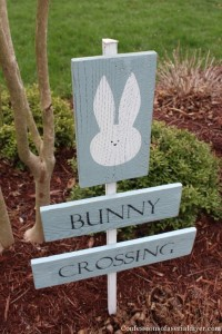 Bunny Crossing Sign from Fence Pickets