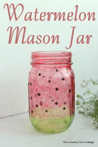 Painted Watermelon Mason Jar Craft