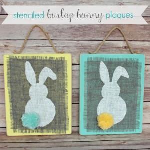 Stenciled Burlap Bunny Plaques Craft