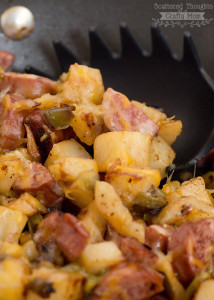 Cheesy Sausage and Potato Hash