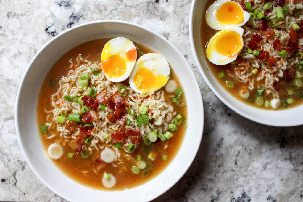 Homemade Ramen with Bacon and Soft-Boiled Eggs