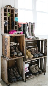 Repurposed DIY Vintage Crate Boot Rack