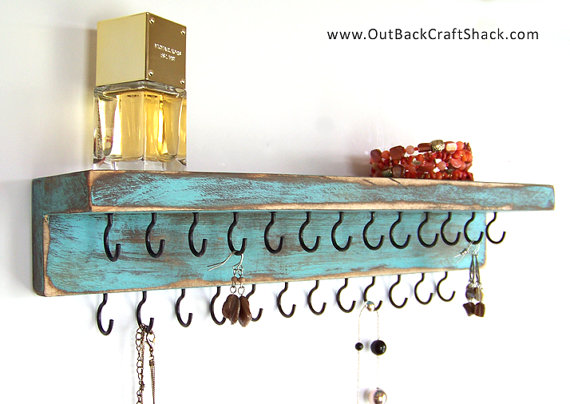 Distressed Wood Jewelry Holder