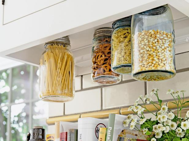 Hanging Mason Jar Storage