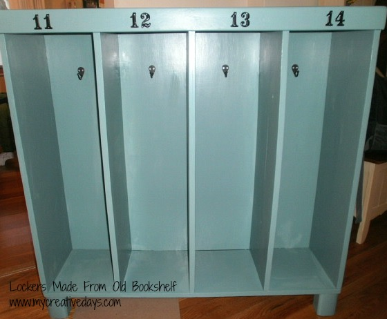Lockers Made From An Old Bookshelf
