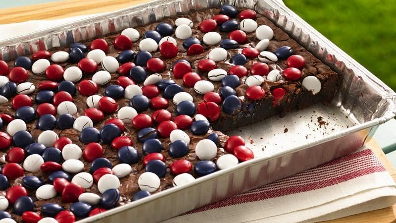 Red, White and Blue Candy Topped Brownies