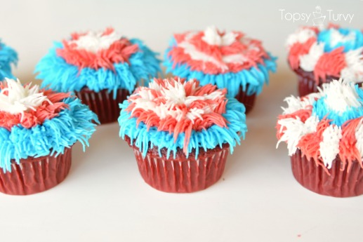 Red, White, and Blue Fireworks Inspired Cupcakes
