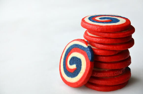 Red, White, and Blue Pinwheel Icebox Cookies